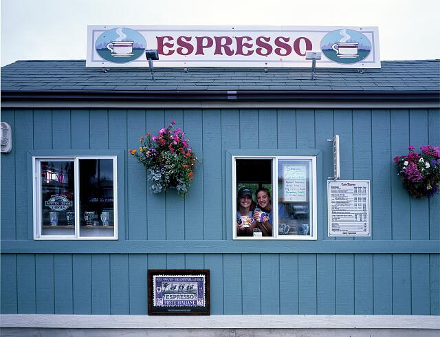 Espresso stands such as this one in Port Angeles, Washington, are ubiquitous throughout the Pacific Northwest