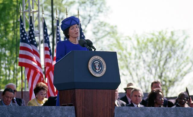 Princess Margriet of the Netherlands speaks at the 1997 dedication of the Franklin Delano Roosevelt Memorial in Washington, D.C.