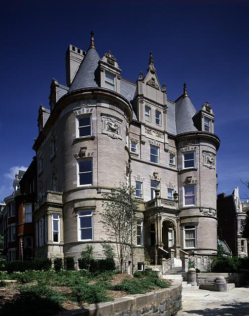 Turreted apartment building and former mansion, Washington, D.C