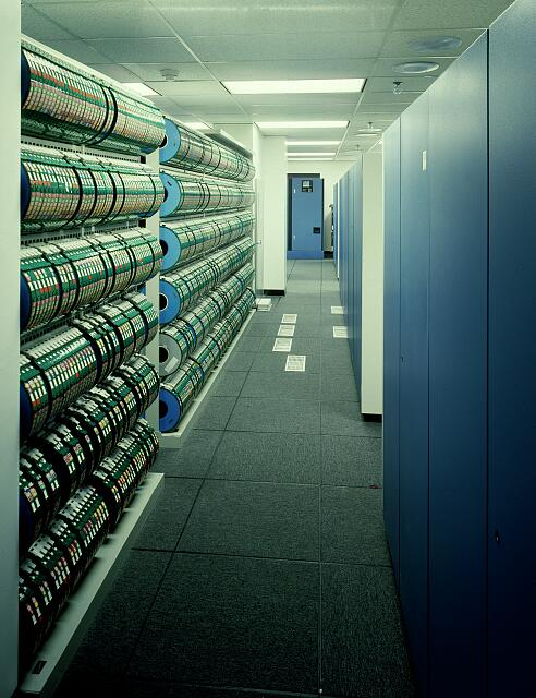 Computer data storage in a modern office building