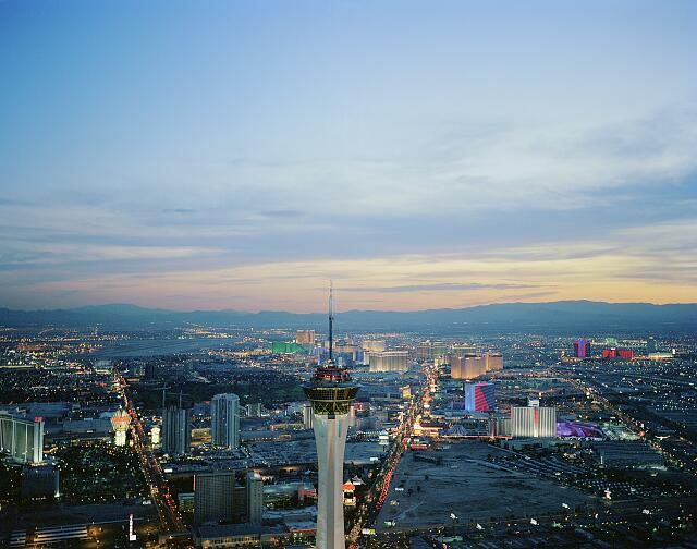 Las Vegas Strip, looking past the 112-story Stratosphere observation tower, Las Vegas, Nevada