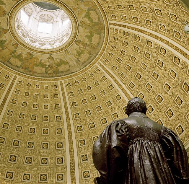 Ceiling of the Reading Room in the Library of Congress Thomas Jefferson Building, Washington, D.C.