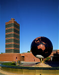 Building, globe, and grounds of the S.C. Johnson and son headquarters building, designed by Frank Lloyd Wright, Racine, Wisconsin