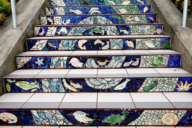 The 16th Avenue Tiled Steps Project, a neighborhood effort to create a mosaic running up the risers of the 163 steps located at 16th and Moraga. San Francisco, California