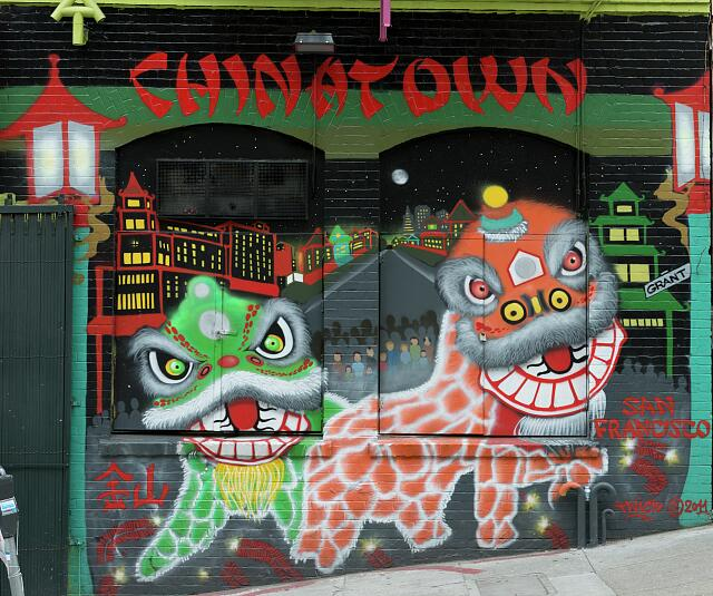 Mural by unknown artist located in Chinatown, San Francisco, California