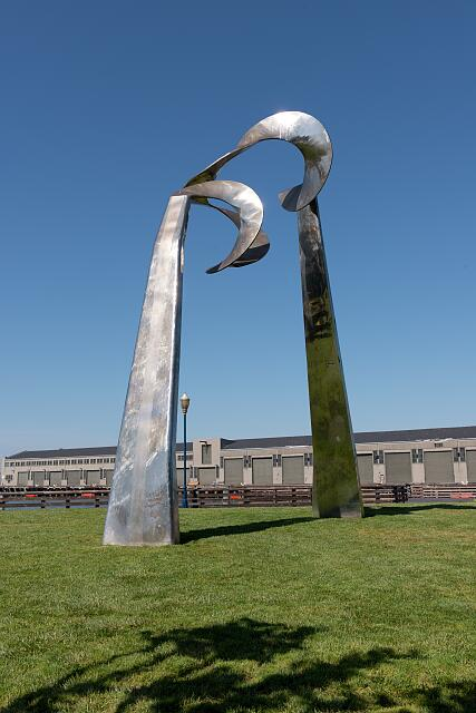 "[Sculpture ""Skygate"" by Roger Barr along Embarcadero,] San Francisco, California"