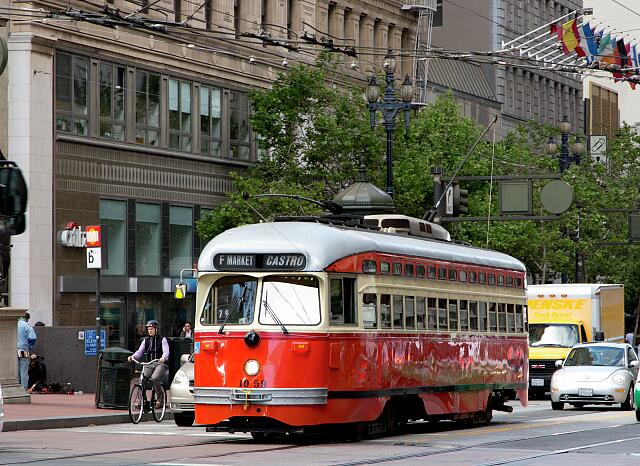 Trolley on Market Street in San Francisco, California