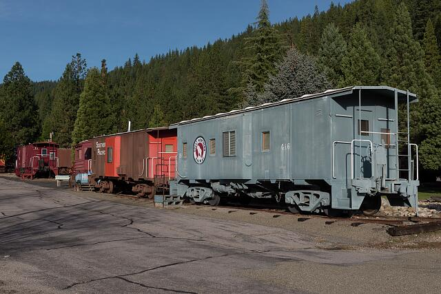 Train cars at Rail Road Park, an unusual motel and resort complex in which guests may opt to stay and sleep in a caboose or other restored, antique railroad car. Dunsmuir, California