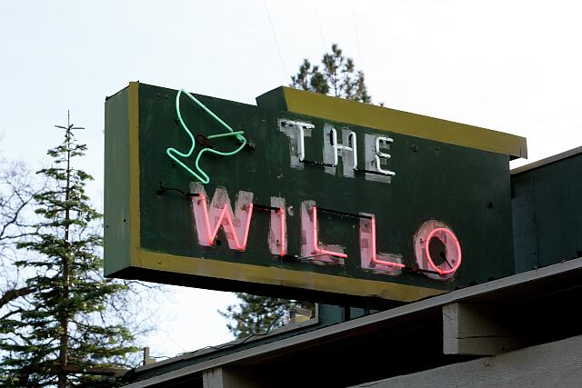 Neon sign at the Willo Steakhouse and saloon, an authentic California roadhouse located on Historic Hwy 49 between Nevada City and the Sierra Buttes country along the South Fork of the Yuba River