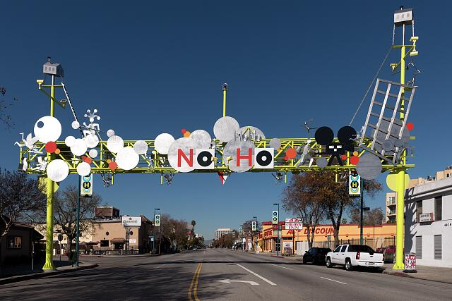 The NoHo Gateway Sign, welcoming visitors to the arts district of the North Hollywood neighborhood in Los Angeles, California