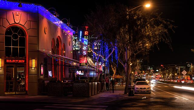 Nightclub strip on Santa Monica Boulevard in West Hollywood, California