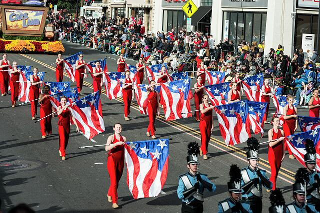 Lincoln High School's band from Sioux Falls, South Dakota, passes in the 124th Rose Parade in Pasadena, California
