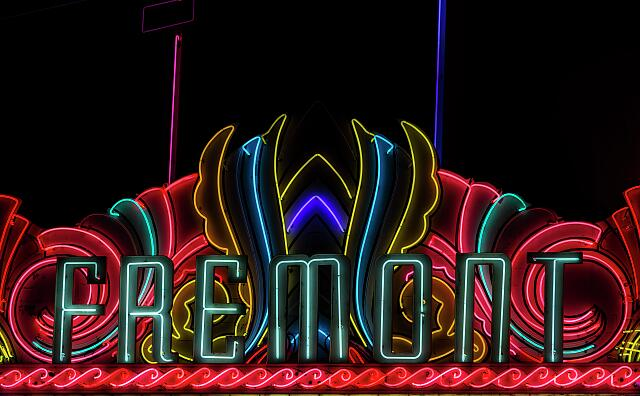 Neon marquee of the Fremont Theater in San Luis Obispo, California