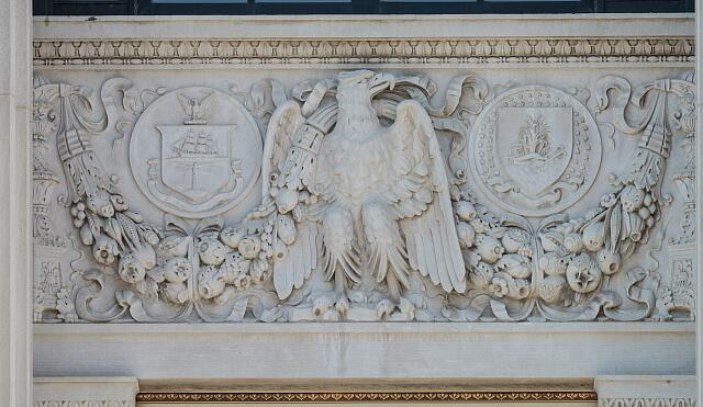 Bas relief at the Ed Edmondson Courthouse, also known as the U.S. Post Office and Courthouse, occupies an entire block between West Broadway, West Okmulgee Avenues and Fifth Street, Muskogee, Oklahoma