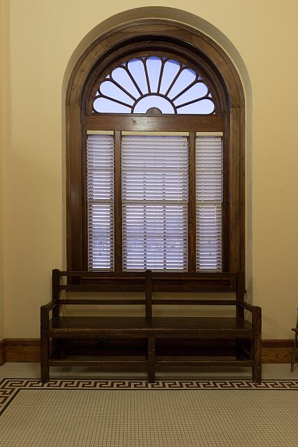 Interior window and bench. Lawton Federal Building and U.S. Courthouse, Lawton, Oklahoma