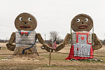 Hay bales are transformed into art in a field in Titus County, Texas