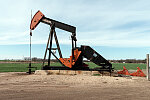 "Colorful ""pumpjack,"" a type of small oil pump that's a common sight in West Texas, along U.S. 83 near the town of Winters in Runnels County, Texas"