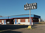 The Lamesa Motel, featuring covered parking for guests next to their rooms, in Lamesa, the seat of Dawson County, Texas