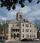The current Romanesque Revival-style Comal County Courthouse in New Braunfels, Texas