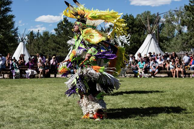 Scene from authentic Native American dances at the Indian Village on the rodeo grounds of the Cheyenne Frontier Days celebration in the Wyoming capital city