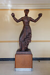 "Wooden sculpture ""Freemen Prosper"" by Sahl Swarz, in the courtroom lobby at the U.S. Post Office and Federal Building, Statesville, North Carolina"