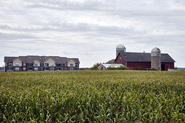 Rural America meets suburbia near West Middleton in Dane County, Wisconsin