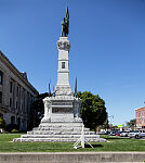 The Soldiers and Sailors Monument, designed by Rudolf Schwarz and Bruno Schmitz and completed in 1888 outside the Carroll County Courthouse in Delphi, Indiana