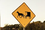 "A ""buggy warning"" site is a familiar sight in Morrow County, Ohio, near Chesterville"