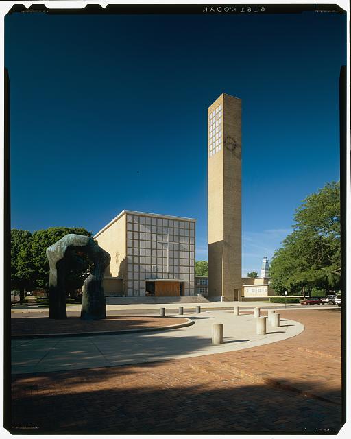 First Christian Church (originally Tabernacle Church of Christ; Columbus, Indiana, 1939-42; Saarinen and Saarinen). Exterior