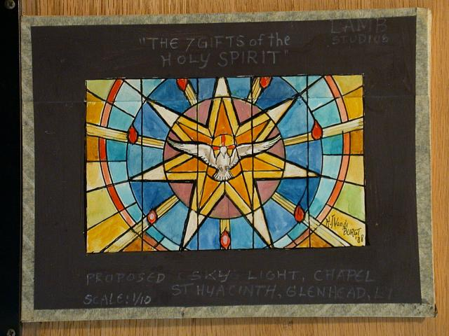"[Design drawing for a proposed skylight showing dove flying from seven-point star with text ""The 7 Gifts of the Holy Spirit"" for Chapel St. Hyacinth in Glenhead, Long Island, New York]"