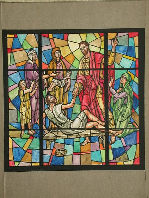 [Design drawing for stained glass window showing Miracle of Healing over colorful mid grid]
