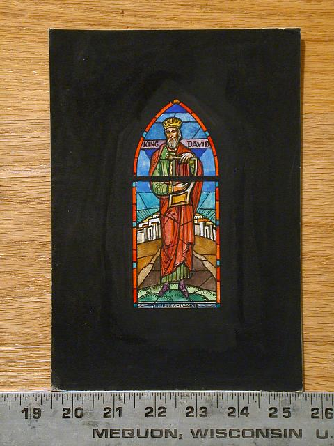 """[Design drawing for stained glass memorial window """"King David"""" with Jerusalem and Mt. Zion]"""