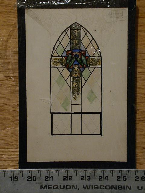 [Design drawing for stained glass window with cross with grape vines, chalice, palms and crenellated gate]