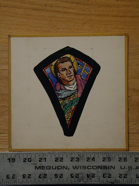 [Design drawing for stained glass window showing St. Andrew with St. Andrew's (Scottish) Flag]