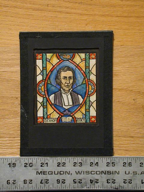 [Design drawing for stained glass window showing Bishop Otey with Book of Common Prayer]