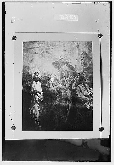Set of religious paintings of Christ's passion, by Kosheleff, in Russian hospice, Jerusalem. Christ accused before high priest