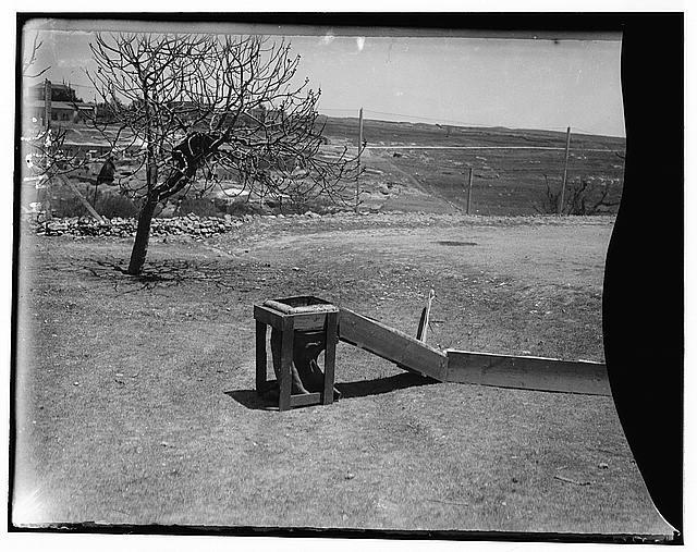 The terrible plague of locusts in Palestine, March-June 1915. Portable trap with sack attached