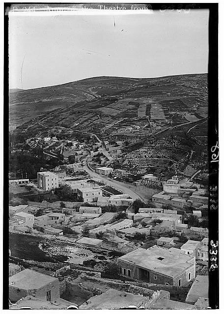 Wady Sha'ib Es-Salt, Amman, etc. Amman from acropolis hill. Showing Roman theatre and Hotel Philadelphia