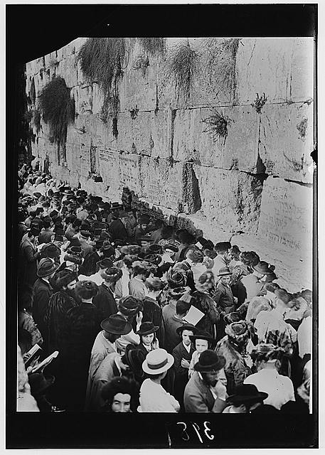 Atonement Day crowd. Closer view at the Wailing Wall