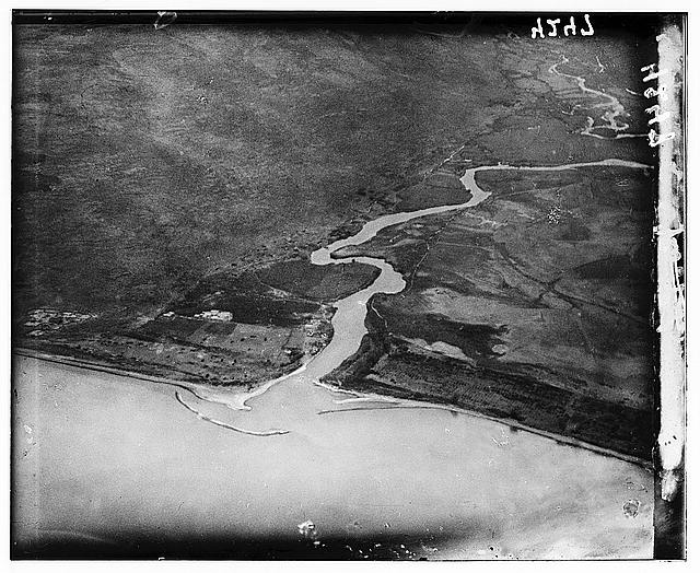 Air views of Palestine. Inflow of Jordan into Lake of Gennesaret. Northern end of the lake