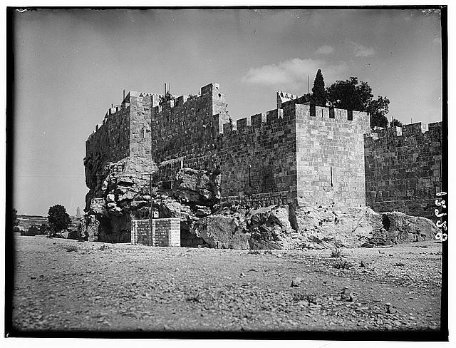 North city wall above entrance to Solomon's Quarries, Bezetha [Jerusalem]