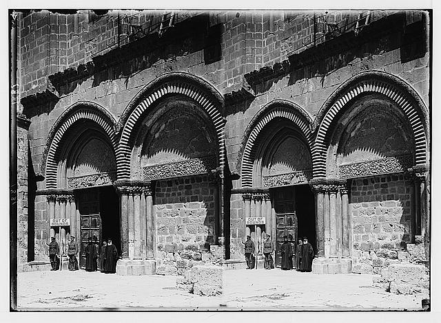 Various results of the war. British guard at the Church of the Holy Sepulchre.