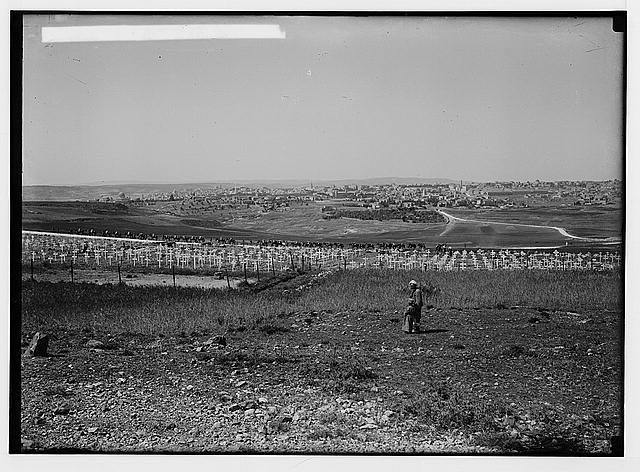 Various results of the war. British war cemetery on Mt. Scopus, old view.