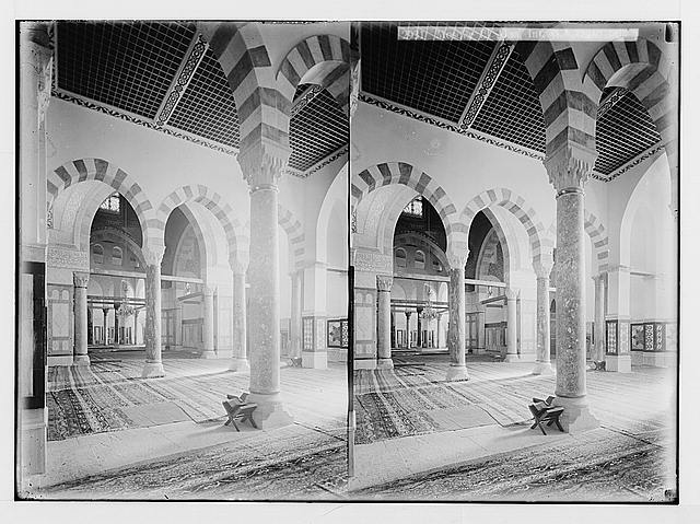 The Temple area. Mosque el Aksa [i.e., al-Aqsa], int[erior]. The western aisle.