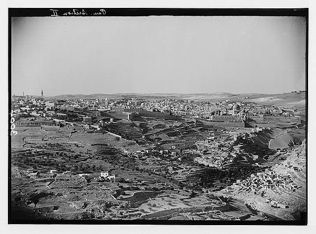 Newer Jerusalem and suburbs. The Old City from Government House showing site of the City of David on Ophel