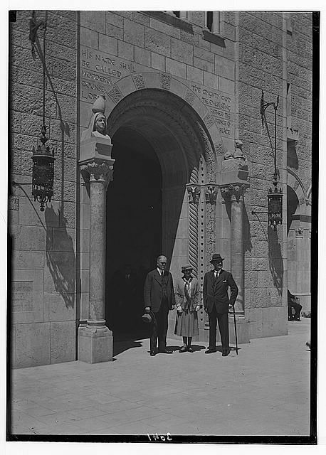 Newer Jerusalem and suburbs. Y.M.C.A . main entrance. Dr. J. R. Mott, Lord & Lady Allenby