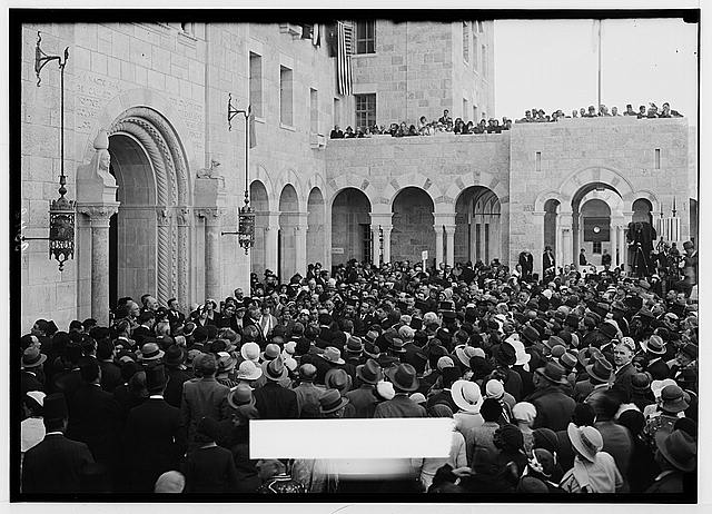 Newer Jerusalem and suburbs. Y.M.C.A. Dedication service in fore-court on April 18th, 1933