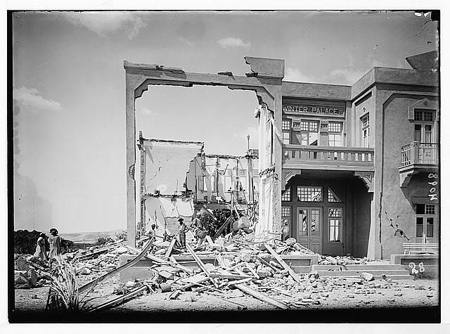 Palestine events. The earthquake of July 11, 1927. Wreckage of the Winter Palace Hotel, Jericho. A complete collapse