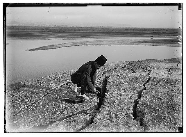 Palestine events. The earthquake of July 11, 1927. Deep fissures or land openings near the Dead Sea, caused by the earthquake