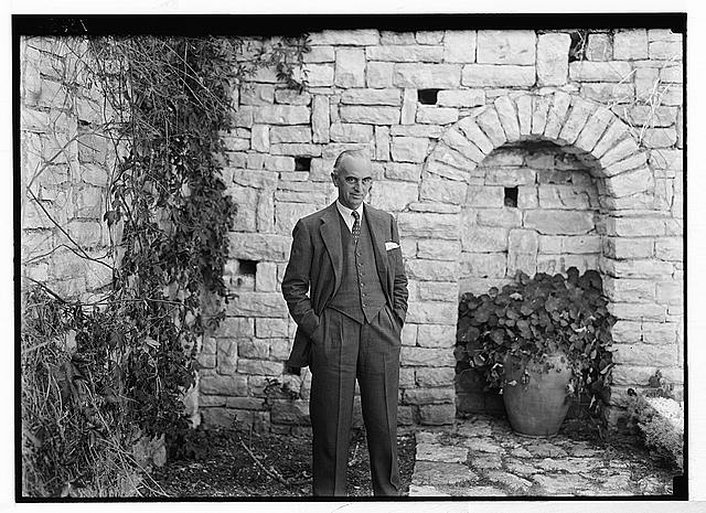 Sir Harold McMichael [i.e., MacMichael], H.C. [i.e., High Commissioner] for Palestine at sunken garden in the residency.
